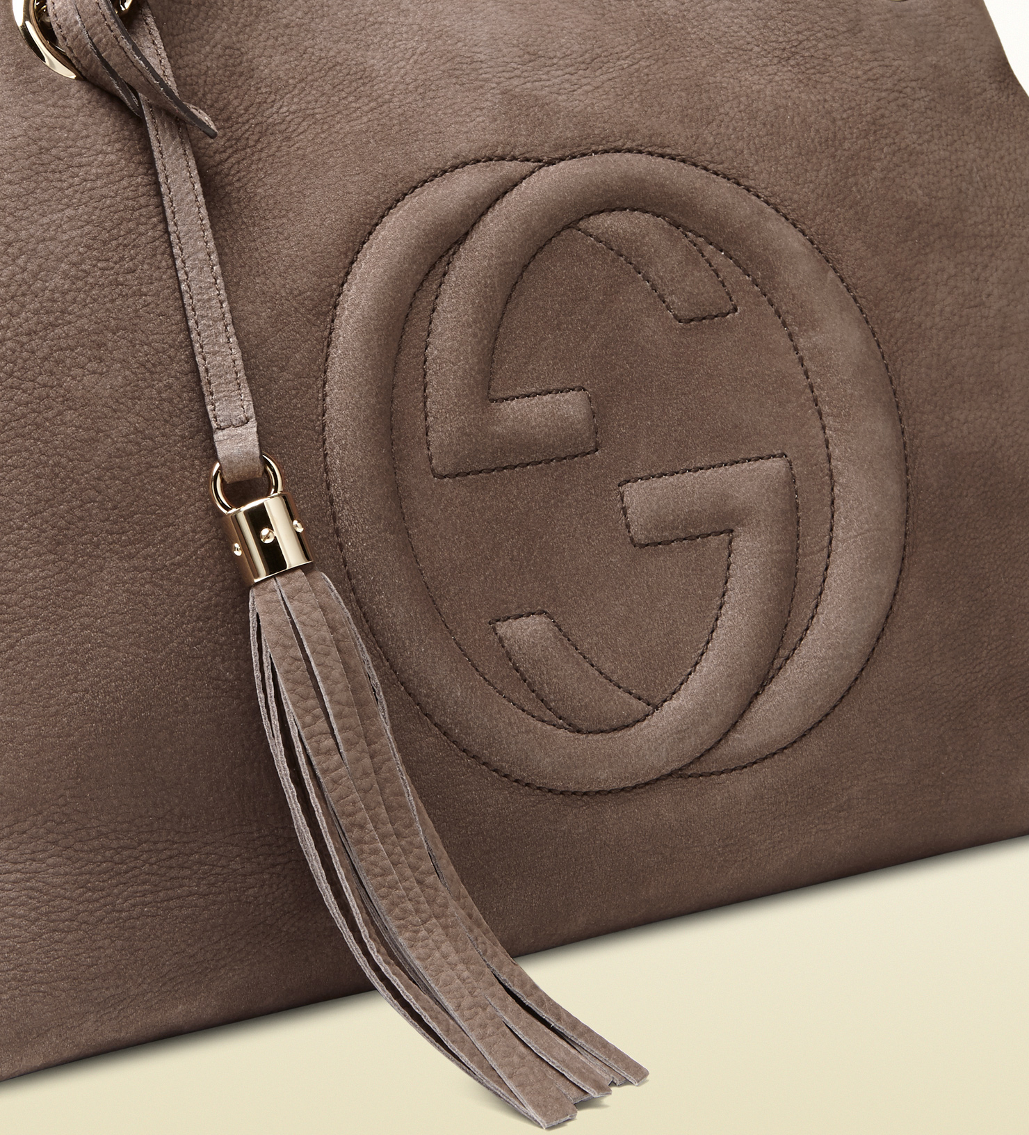 735df4cfd15f6 Gucci Soho Nubuck Leather Shoulder Bag in Gray - Lyst