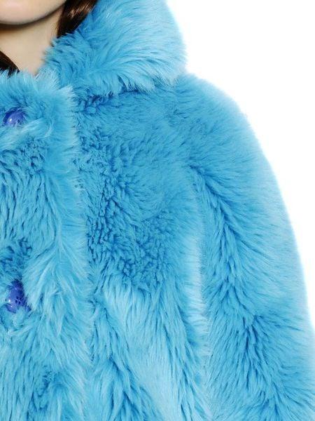 Au Jour Le Jour Faux Fur Coat In Blue Turquoise Lyst