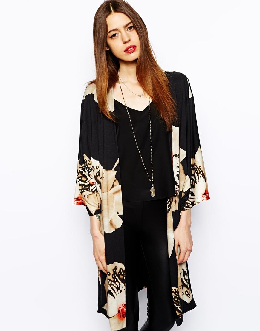 Asos Maxi Kimono in Orchid Print   Lyst