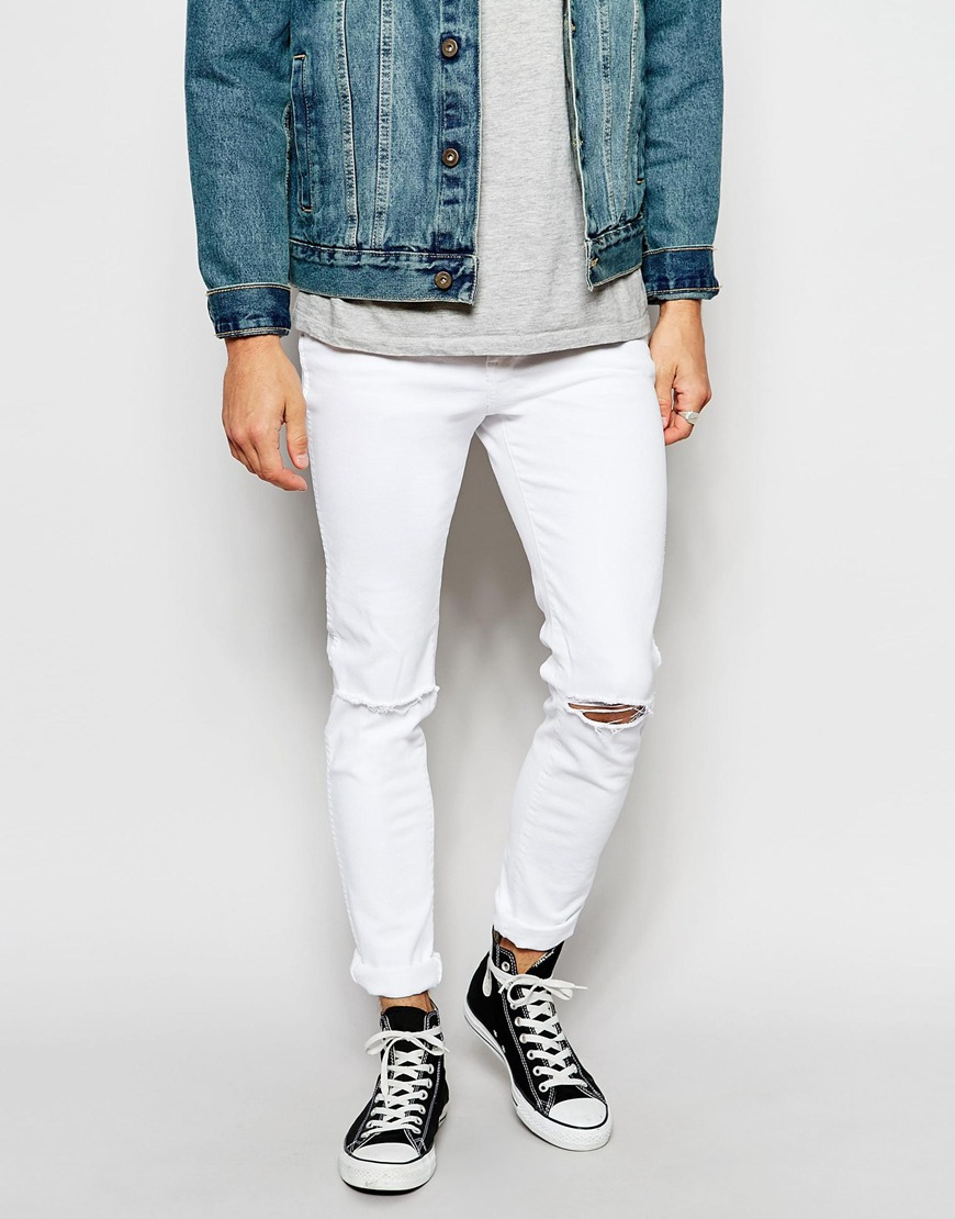 Dr. denim Jeans Snap Skinny Fit Clean White Destroyed in White for