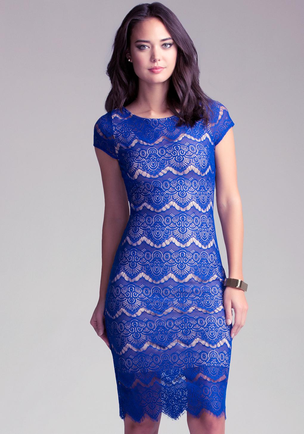 Lyst Bebe Open Back Lace Midi Dress In Blue