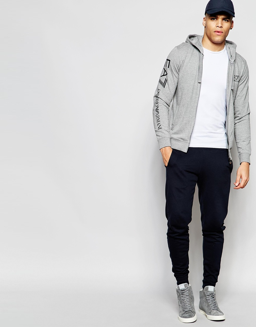 c44021b7573 EA7 Emporio Armani Hoodie With Zip Up   Logo Sleeve - Grey in Gray ...