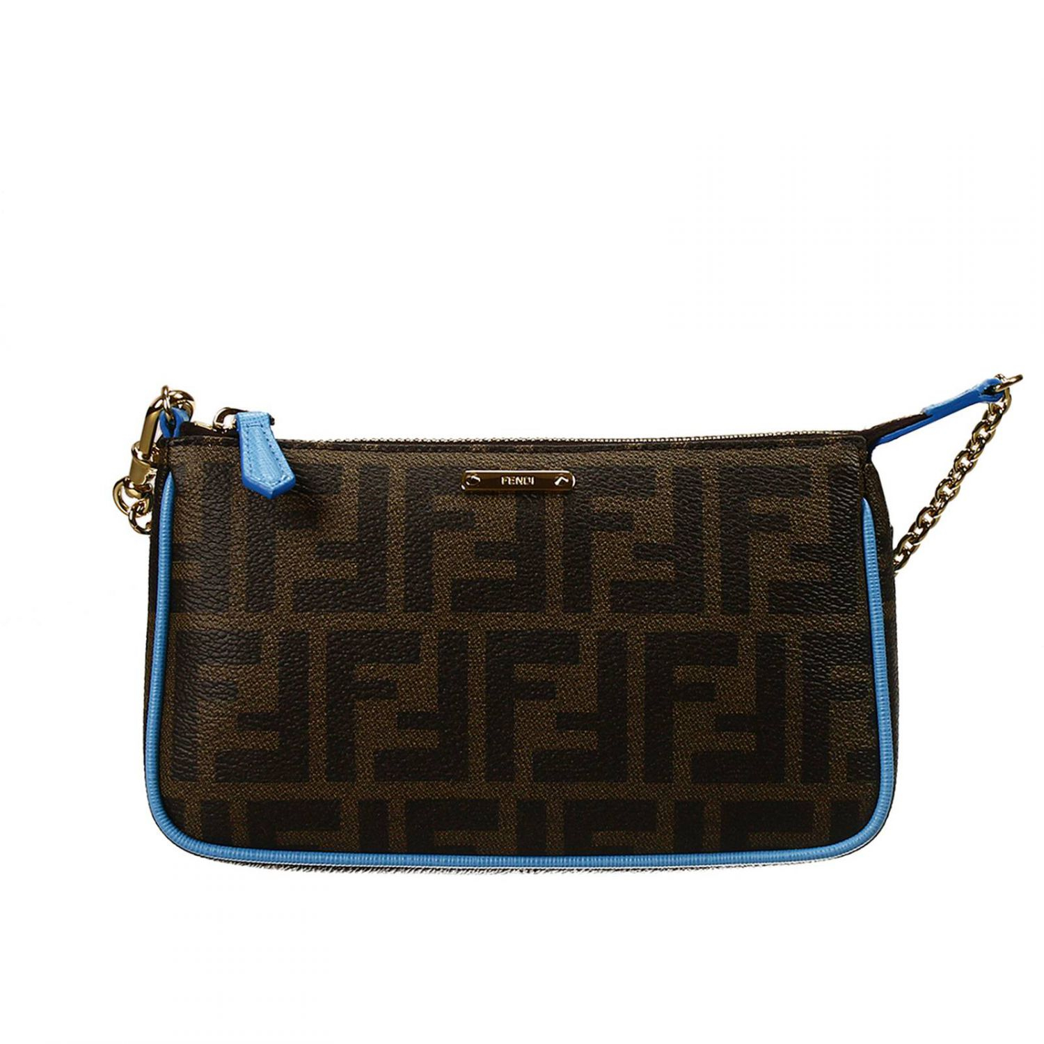 Fendi Clutch Bag Mini Zucca Pu Crossbody With Contrast in Blue | Lyst