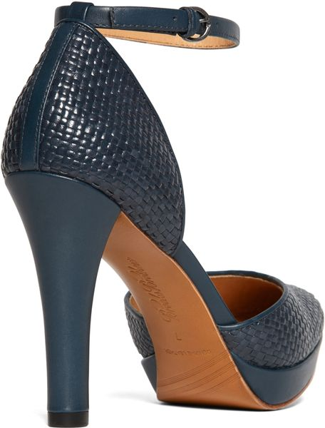 Brooks Brothers Woven Calfskin Ankle Strap Heels In Blue