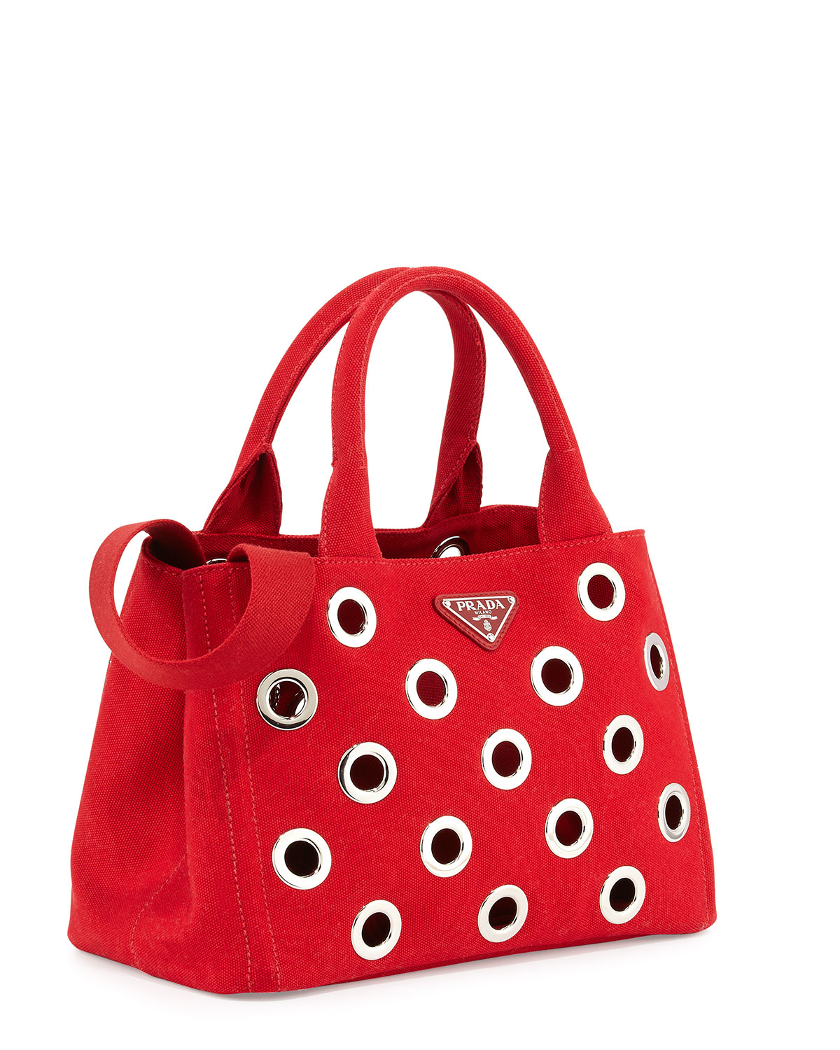ae493ed7c4 Prada Canapa Grommet Small Garden Tote Bag in Red - Lyst