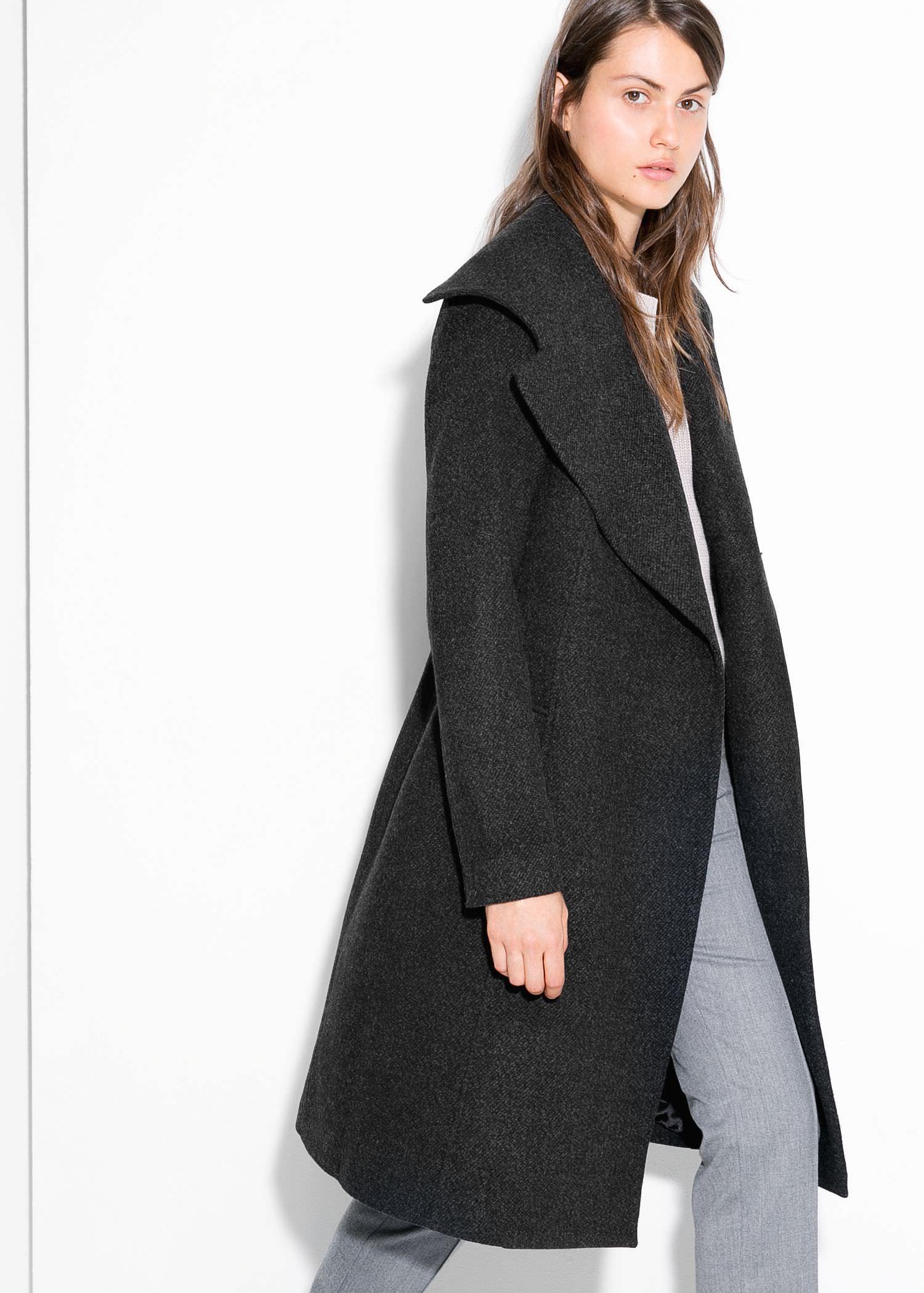 Mango Wide Lapel Wool-Blend Coat in Black | Lyst