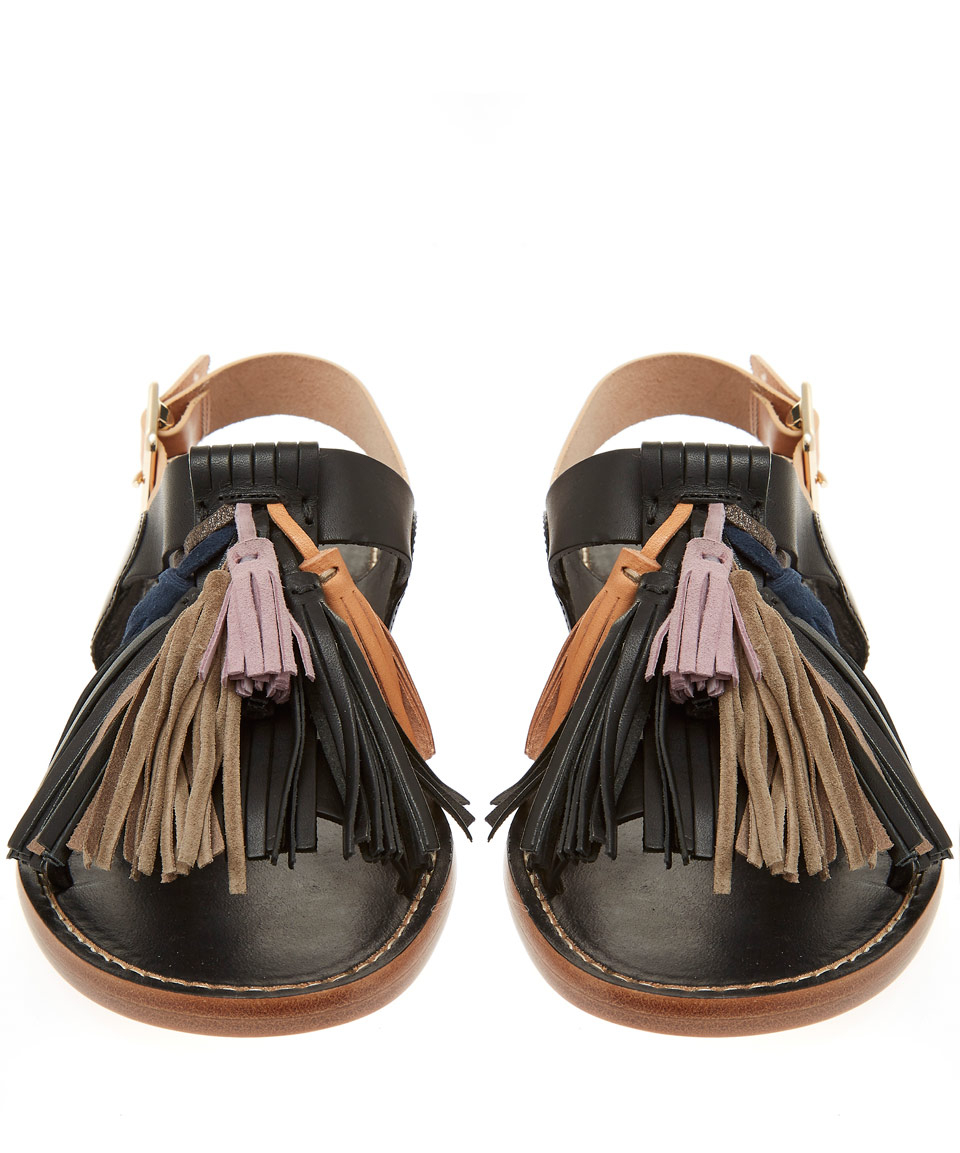 Lyst Isabel Marant Black Clay Tassel Leather Sandals In