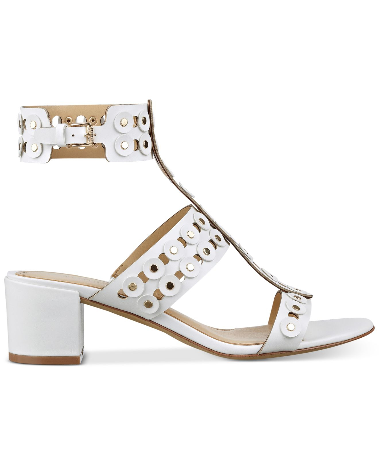 White Block Heel Gladiator Sandals - Is Heel