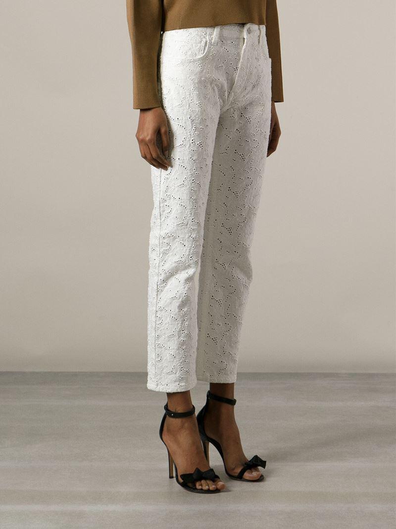 U00c9toile Isabel Marant U0026#39;maddyu0026#39; Embroidered Jeans In White | Lyst