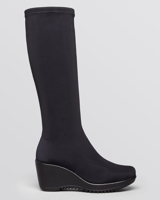 Lyst La Canadienne Waterproof Wedge Boots Gaetana In Black