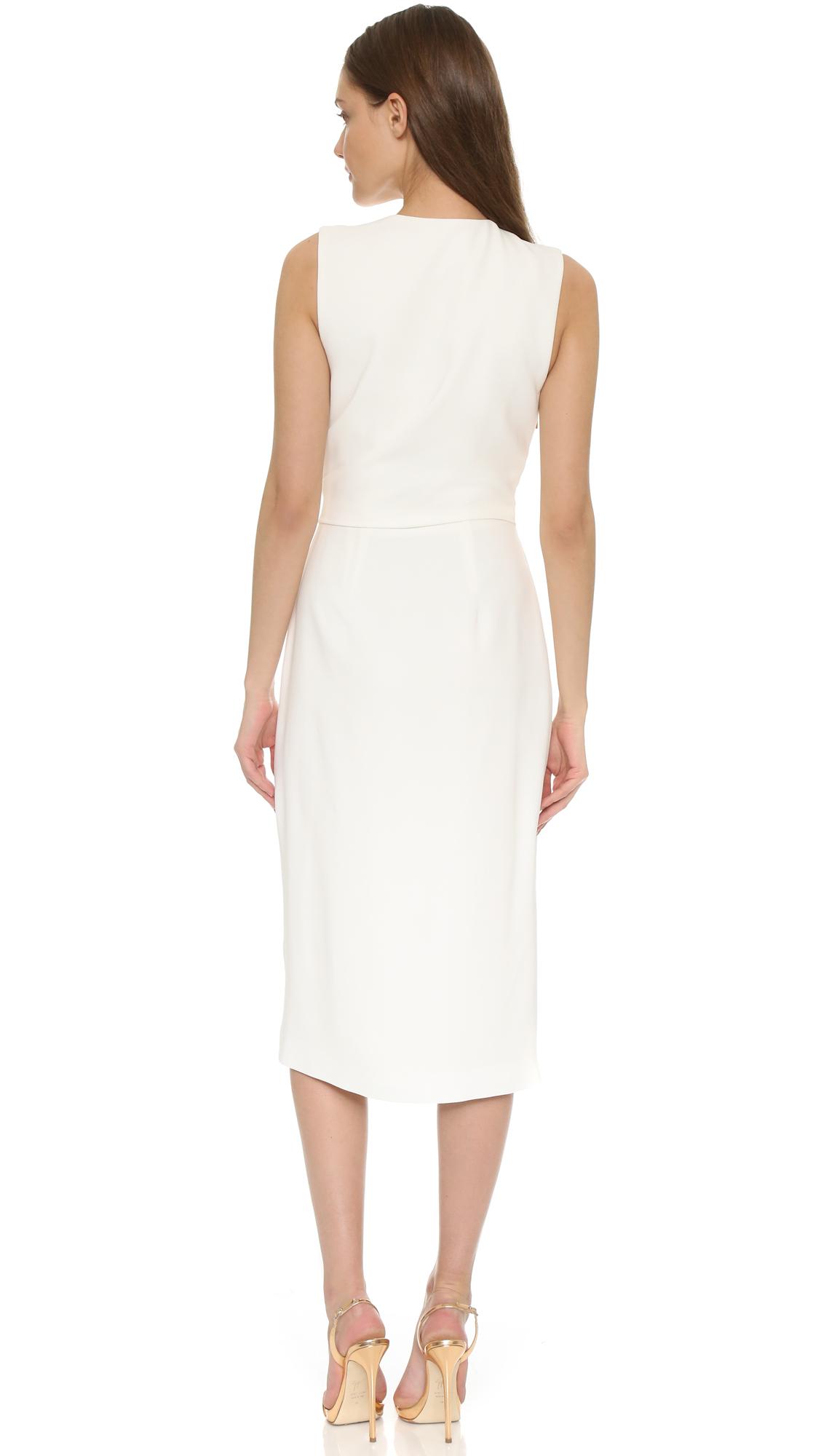 Lyst Jason Wu Crepe Sleeveless V Neck Drape Dress in White