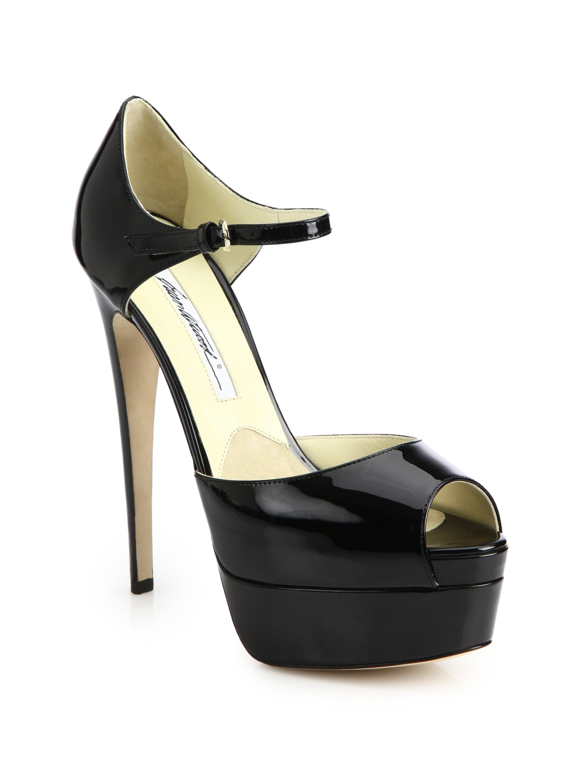 brian atwood tribeca patent leather platform sandals in