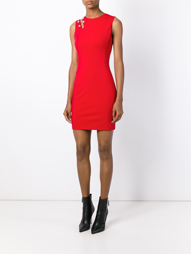 Lyst Versus Cut Out Detail Fitted Dress In Red