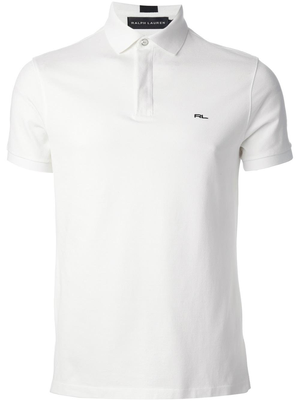 ralph lauren black label logo polo shirt in white for men
