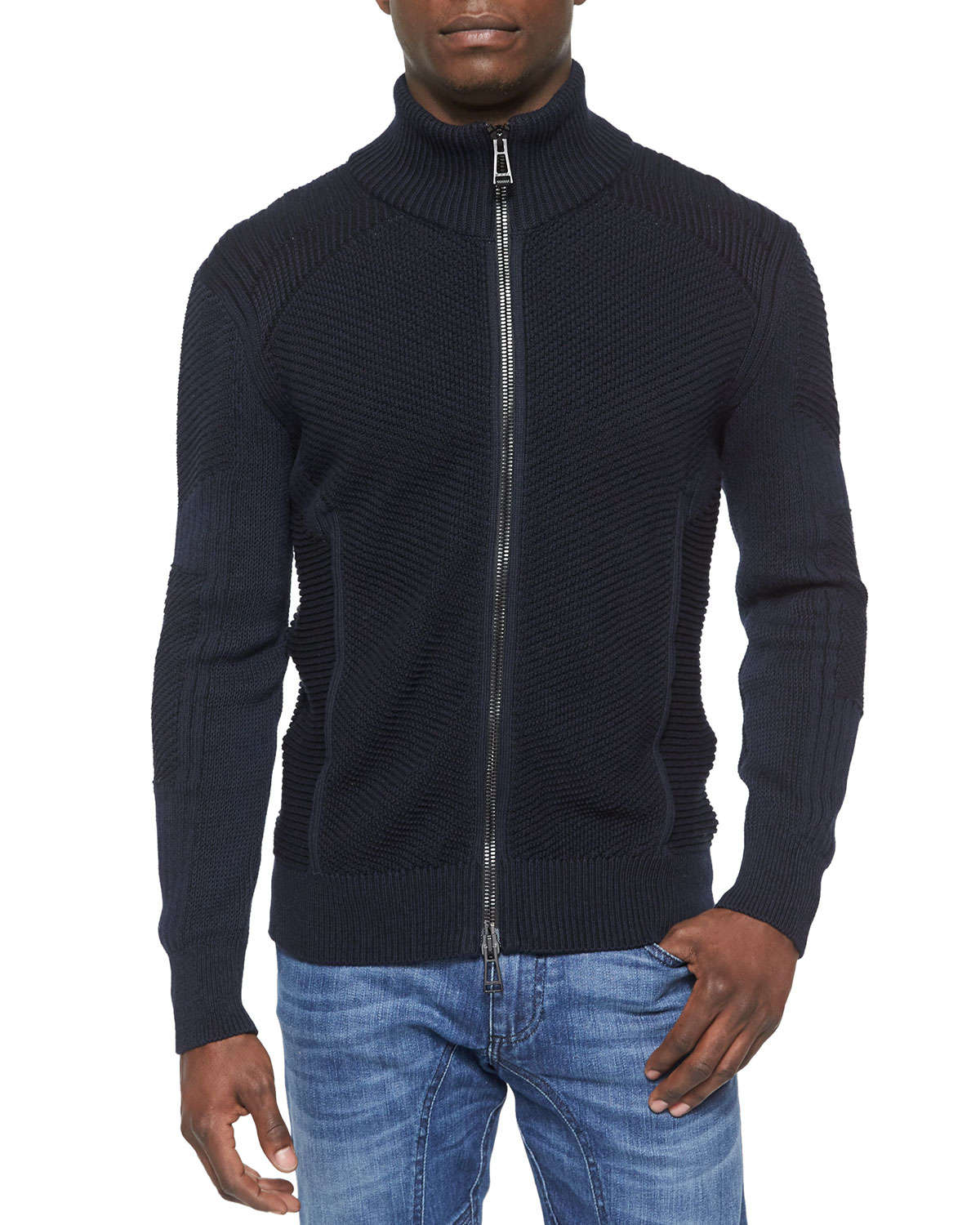 Belstaff Cleveland Textured Full Zip Sweater In Black For Men Lyst