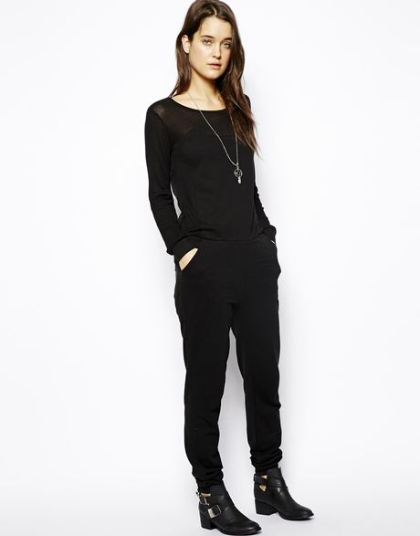 Model Jumpsuit Women With Pockets Black Casual Jumpsuit With Long Sleeves