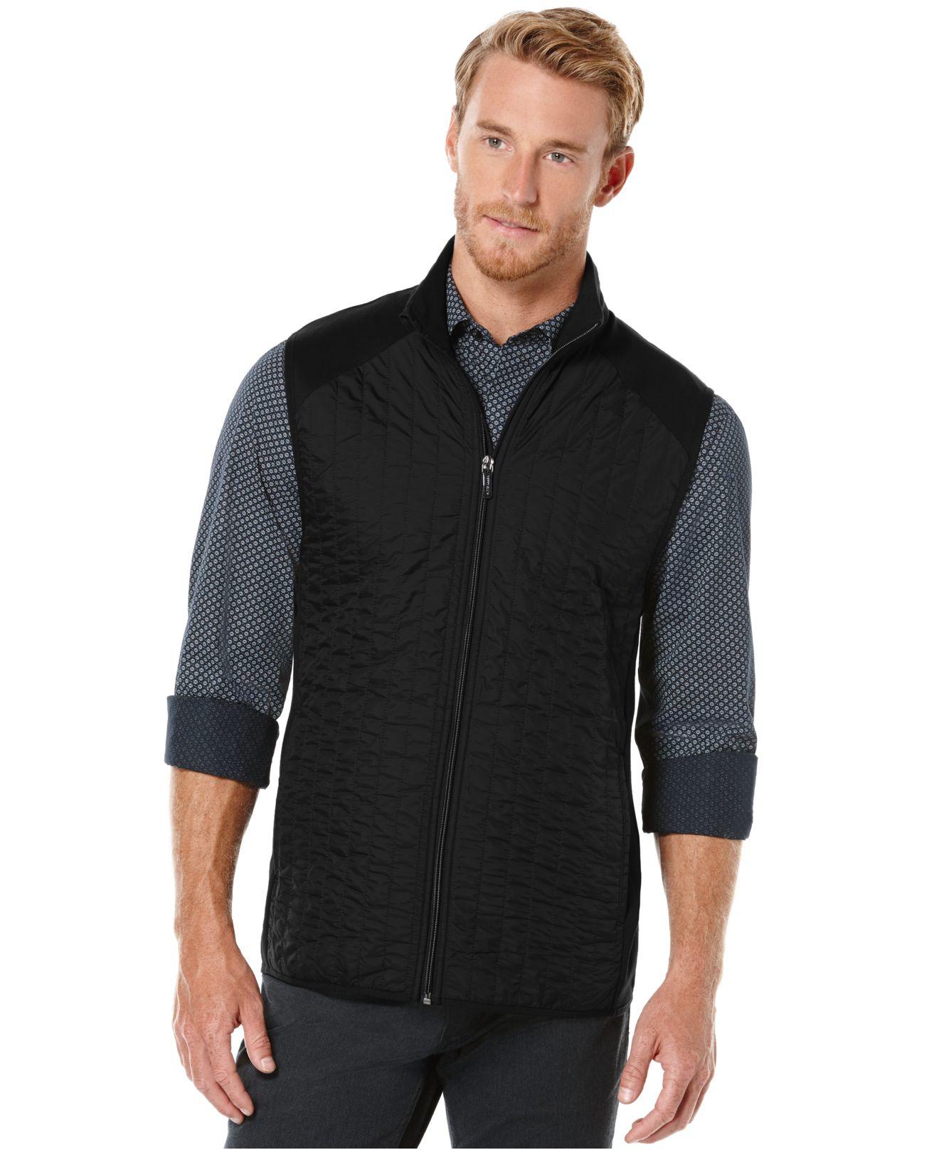 Perry ellis Mixed-media Quilted Zip-front Vest in Black for Men | Lyst : quilted zip front vest - Adamdwight.com
