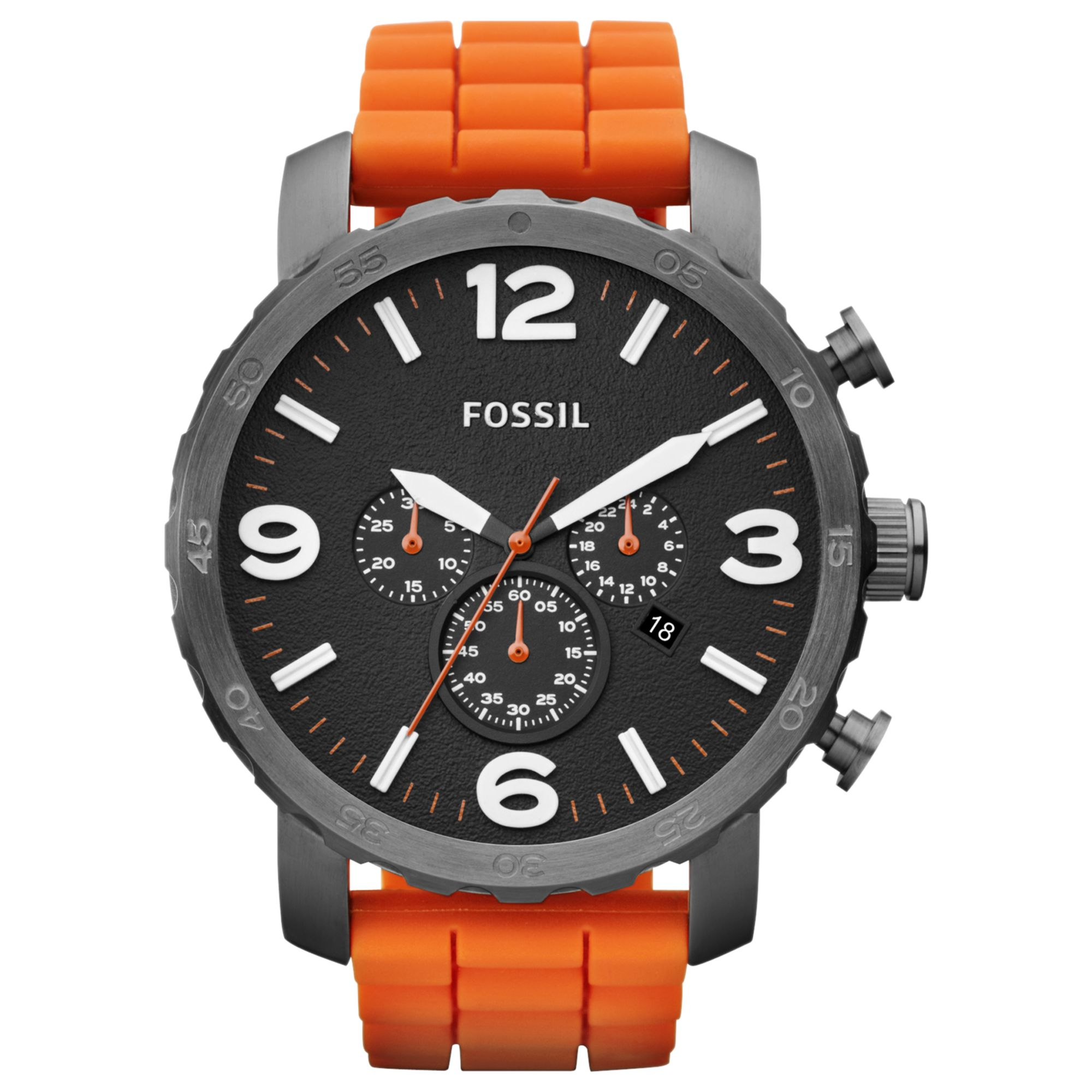 fossil mens chronograph nate orange silicone strap watch 50mm gallery