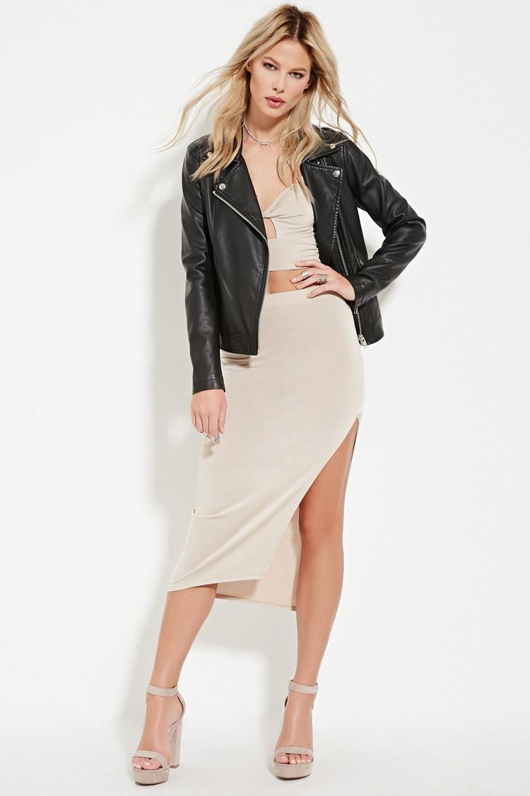 Forever 21 High-slit Midi Skirt in Natural | Lyst