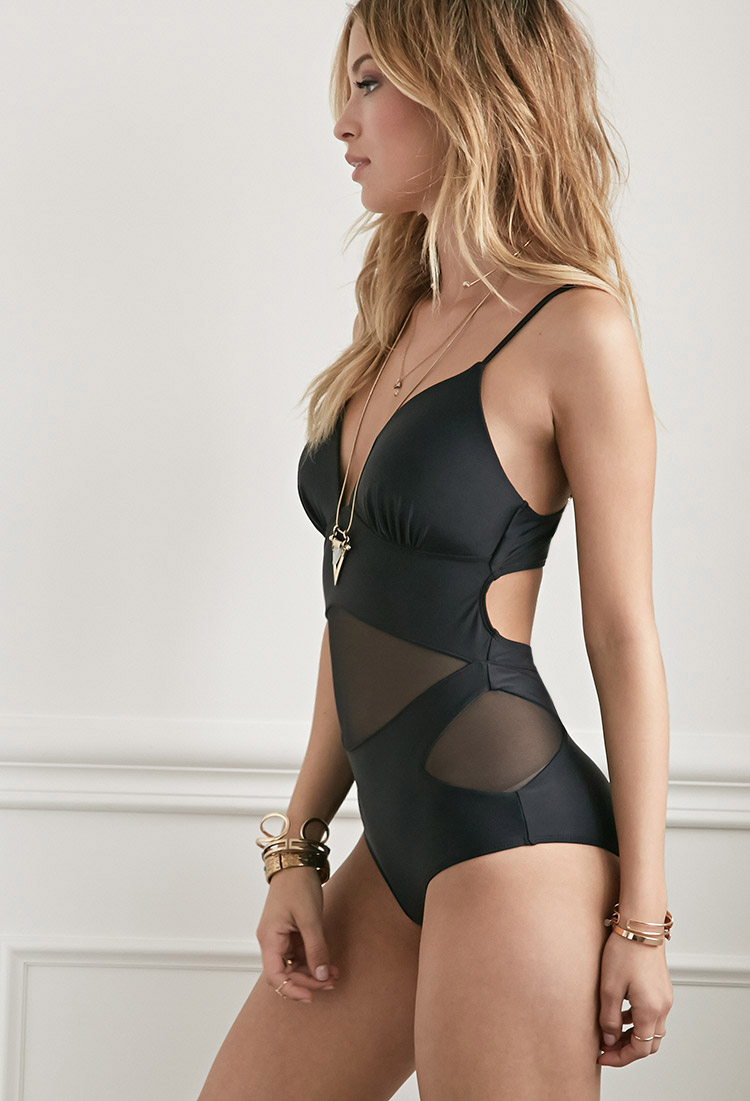 784fe552cb8 Forever 21 Molded Mesh-paneled One-piece in Black - Lyst