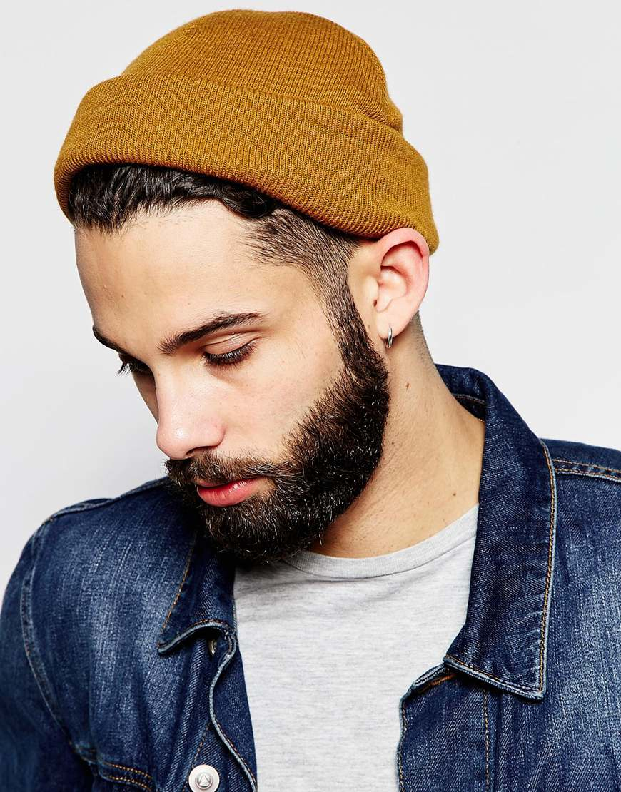 Lyst Asos Mini Fisherman Beanie In Mustard In Yellow For Men