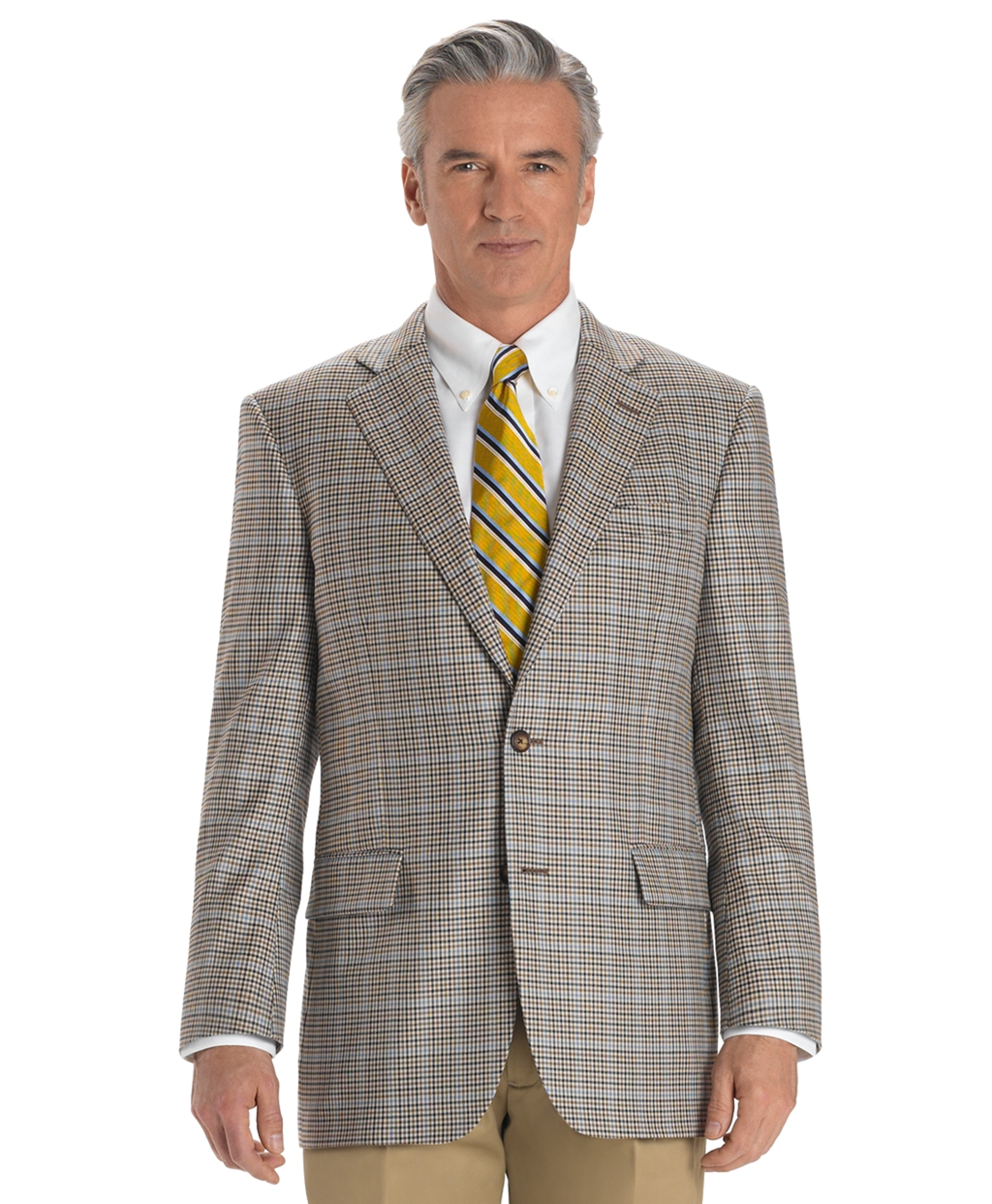brooks brothers madison fit two button check sport coat in gray for men lyst. Black Bedroom Furniture Sets. Home Design Ideas