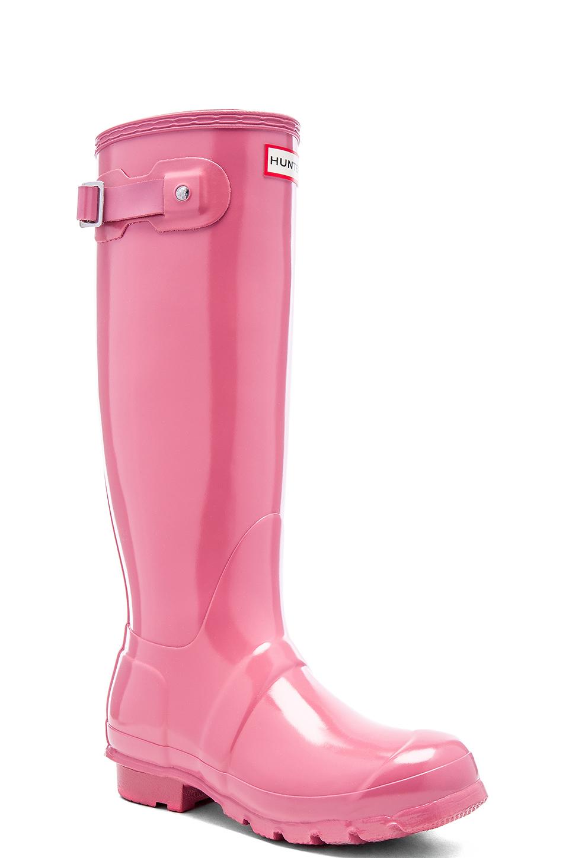 Hunter Original Tall Gloss Rubber Rainboots In Pink Lyst