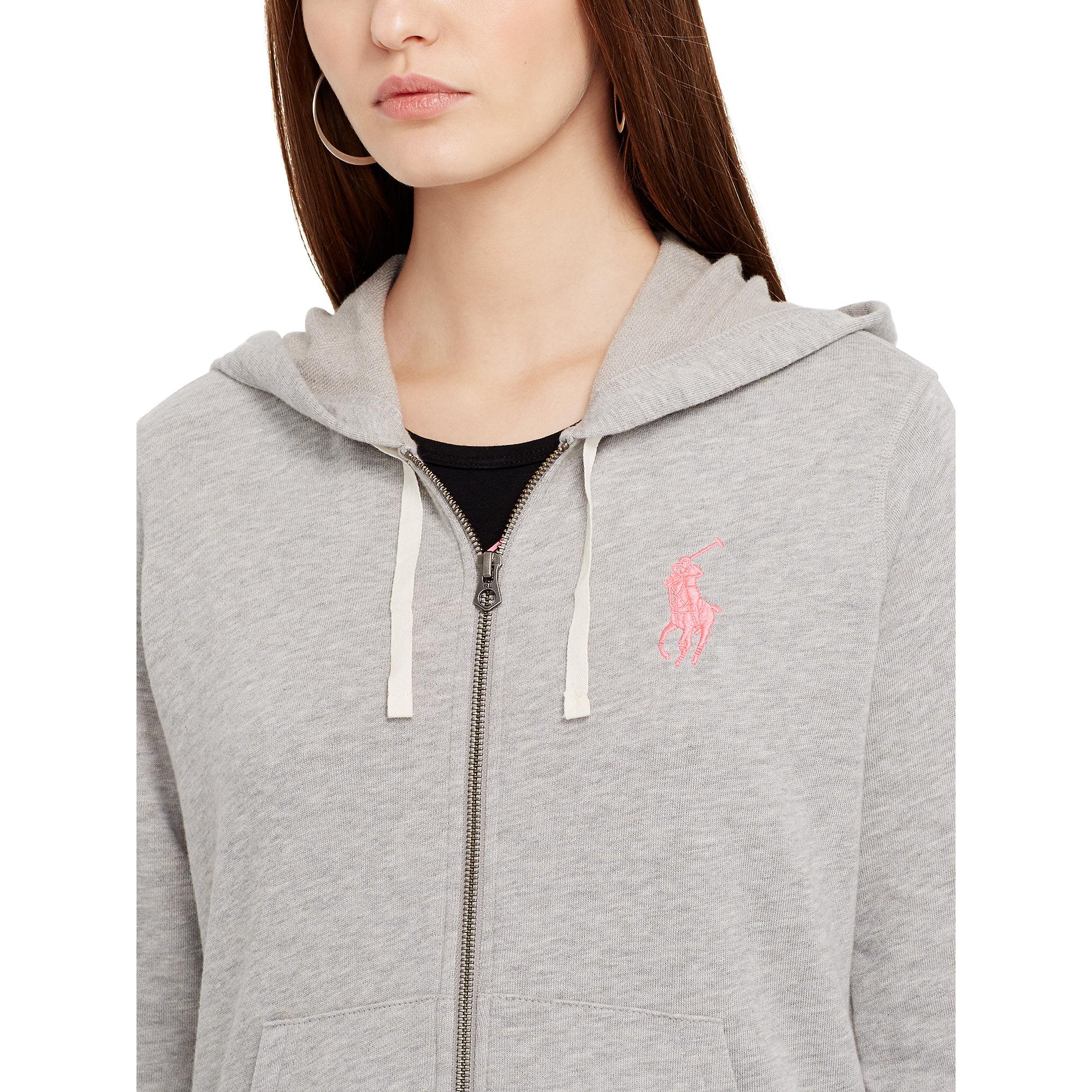 Lyst - Ralph Lauren Pink Pony Hooded Jacket in Gray