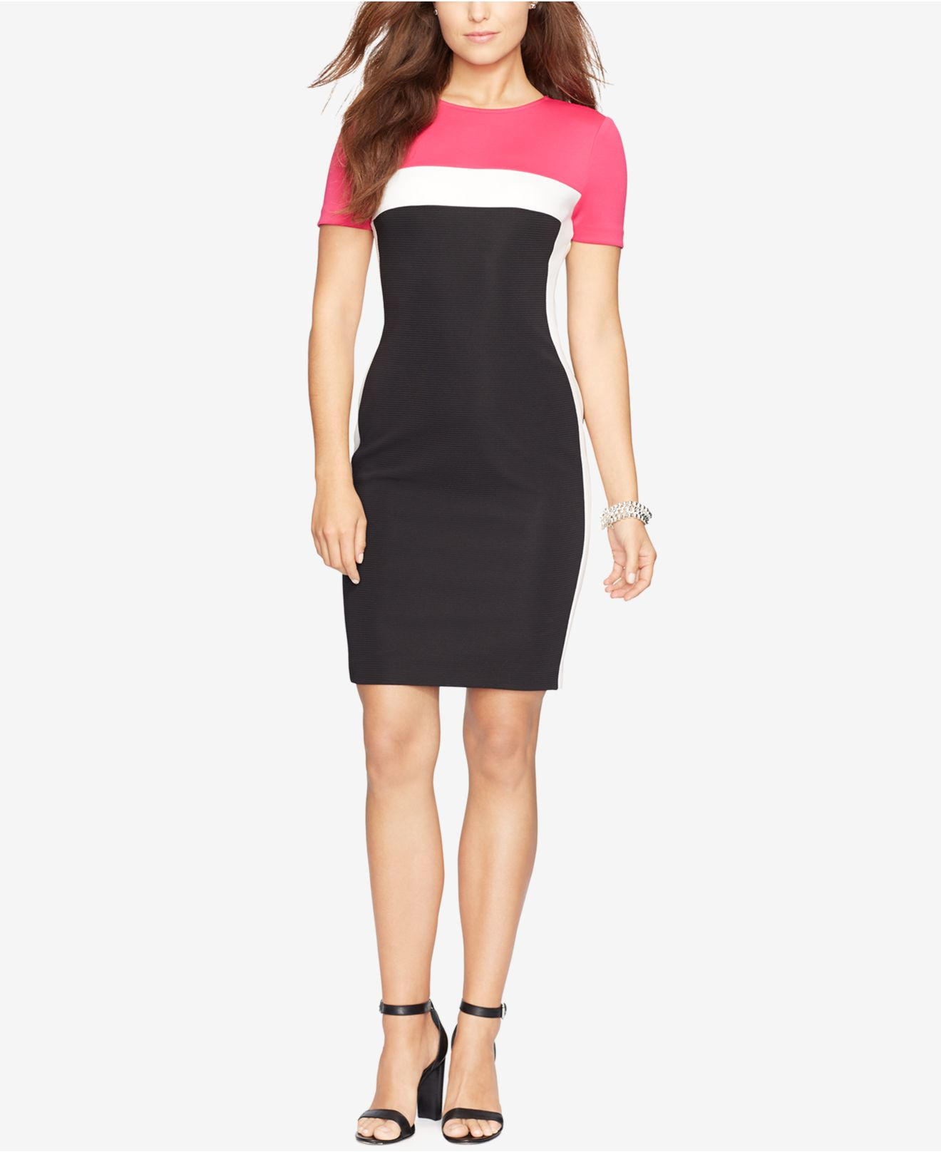 American Living Colorblocked Rib Knit Dress In Pink Lyst