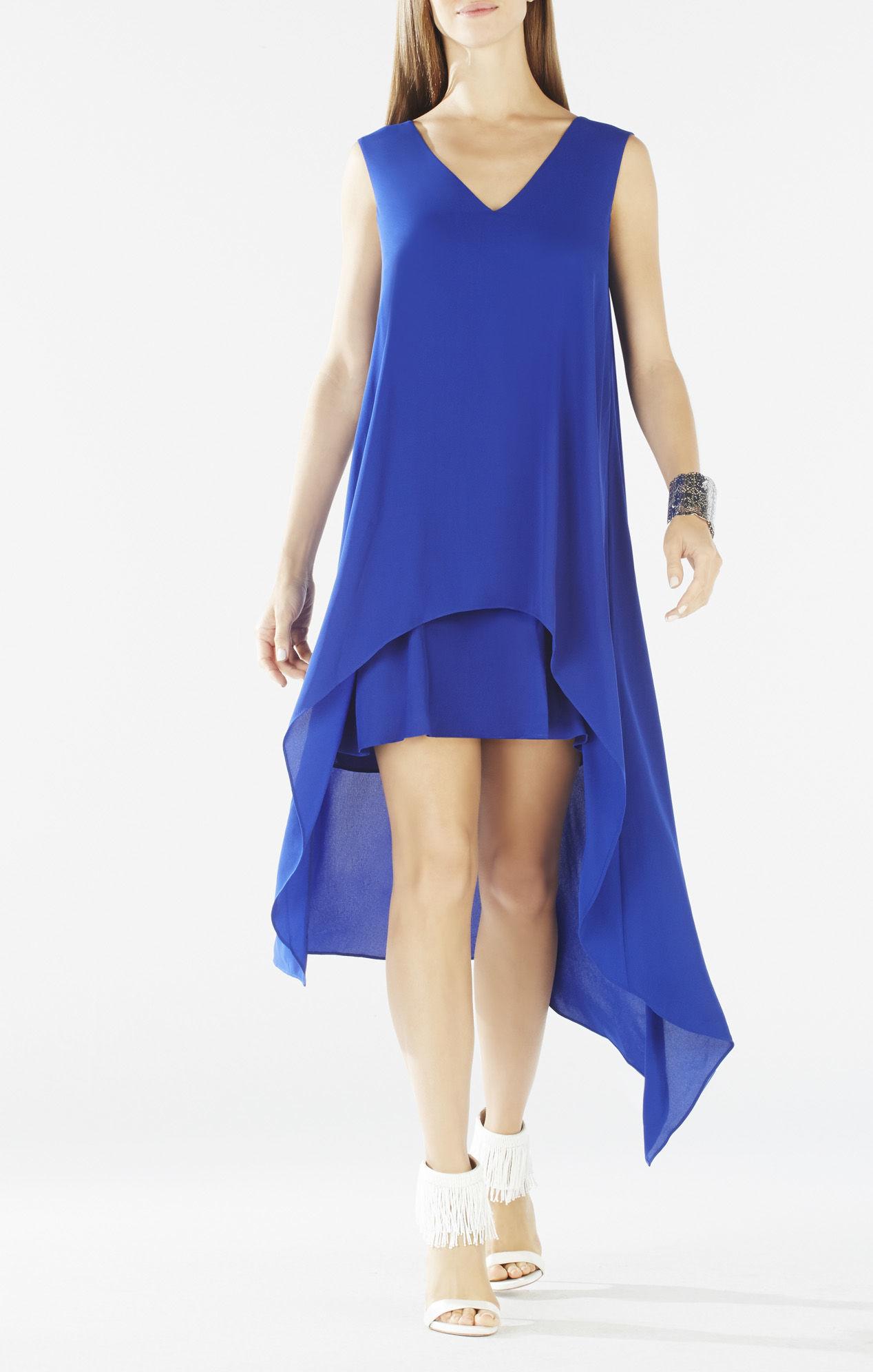 41160a06bc3 Lyst - BCBGMAXAZRIA Kaira Asymmetrical Layered Dress in Blue