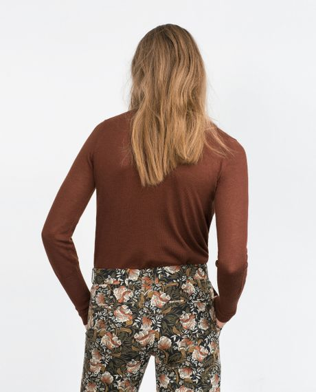 Zara polo neck sweater polo neck sweater in brown light for Light brown polo shirt