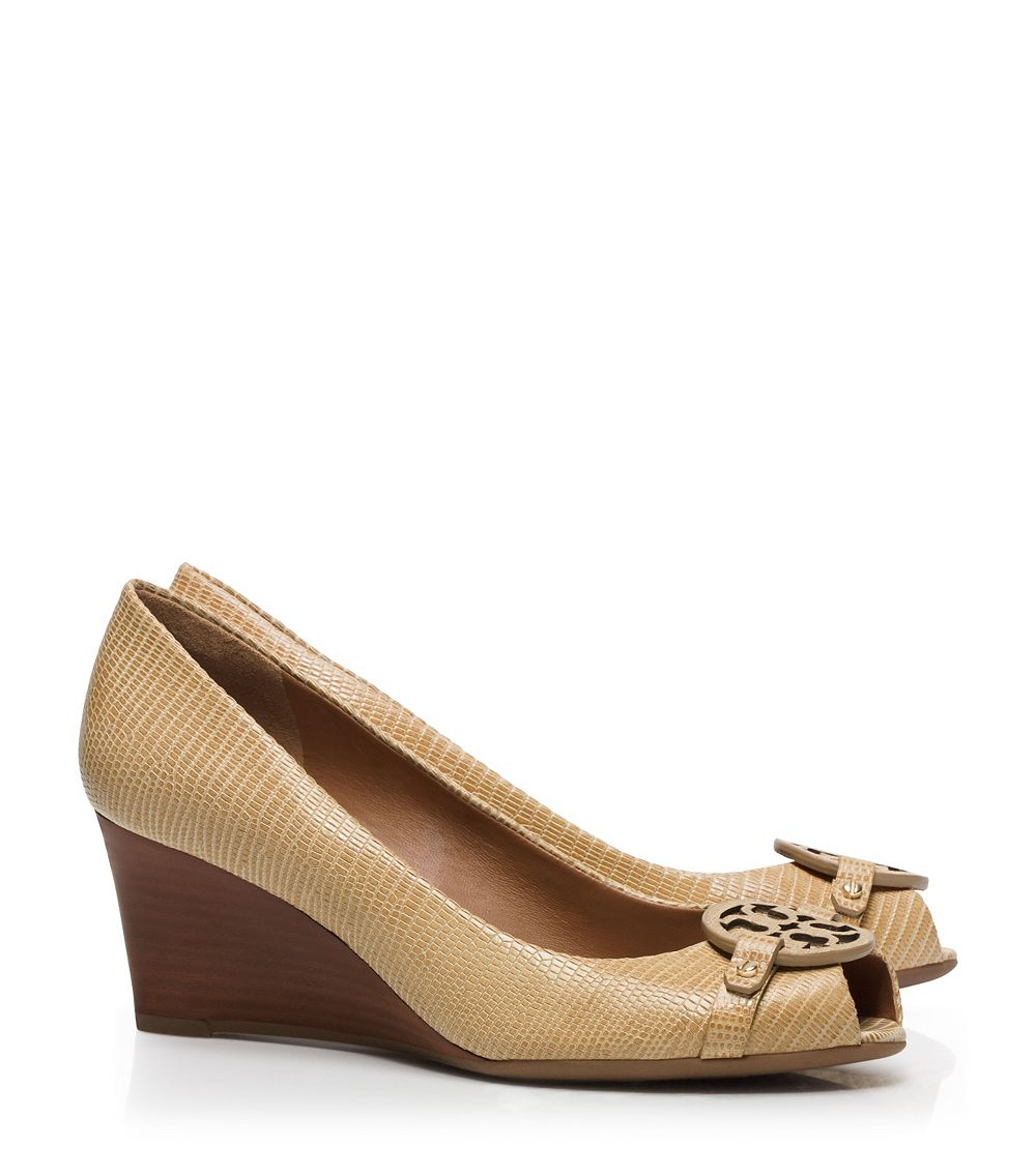 446050b02bf Lyst - Tory Burch Mini Miller Open-Toe Wedge in Brown