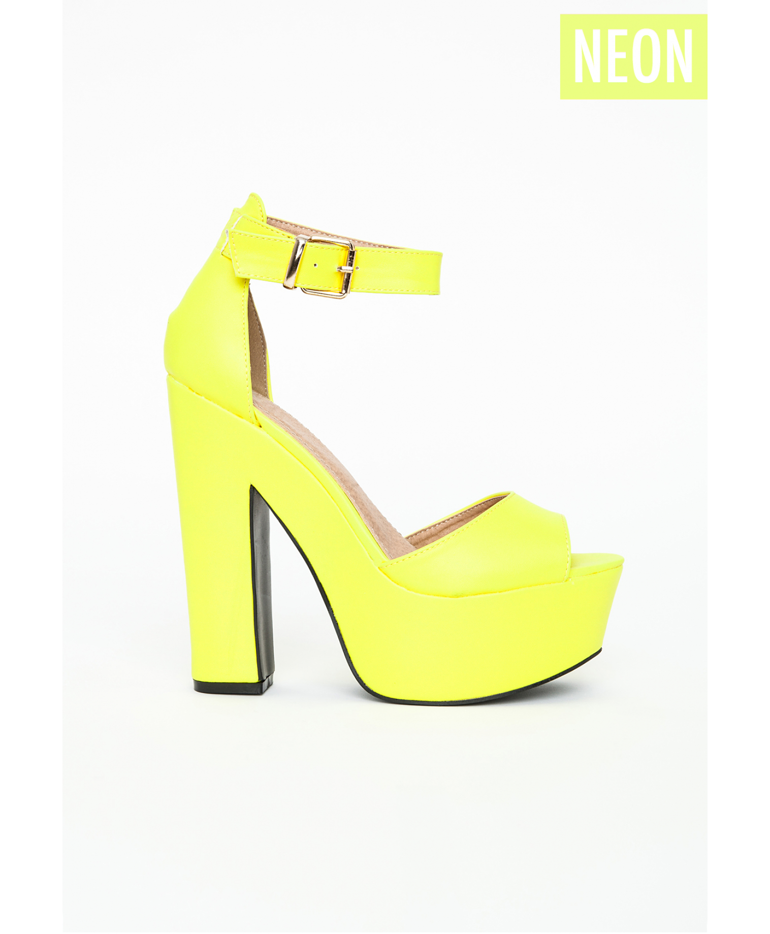 b42c3841e824 Lyst - Missguided Alana Platform Block Heels In Neon Yellow in Yellow