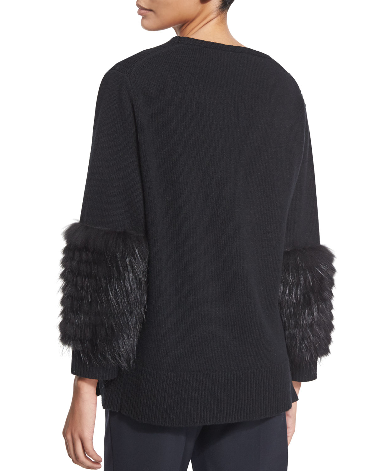 Long Sleeve Fur Cuff Knitted Jumper By Paola Collection At: Sally Lapointe Cable-knit Fur-sleeve Sweater In Black