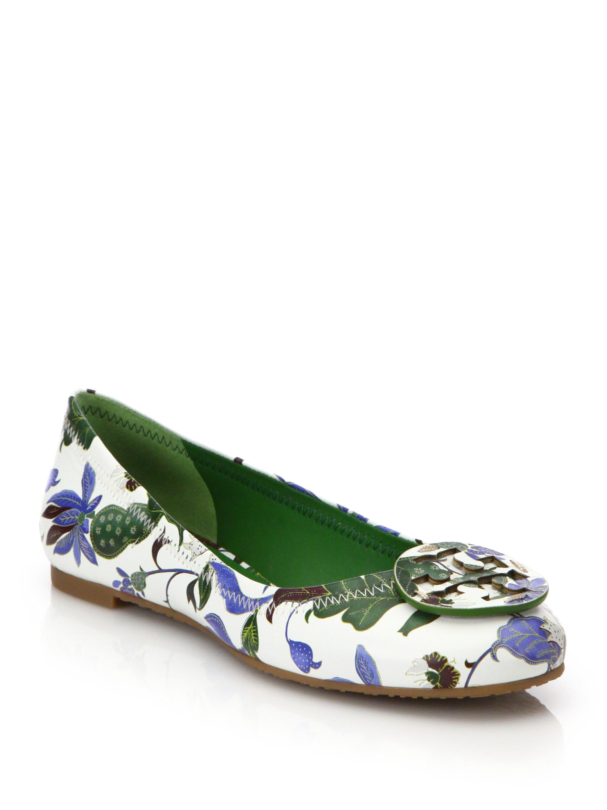 a038a7d8c2ce8 Lyst - Tory Burch Reva Floral Leather Ballet Flats