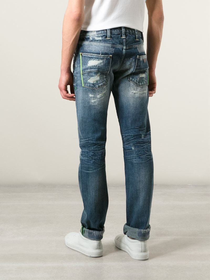 Armani jeans Ripped Straight Leg Jeans in Blue for Men | Lyst