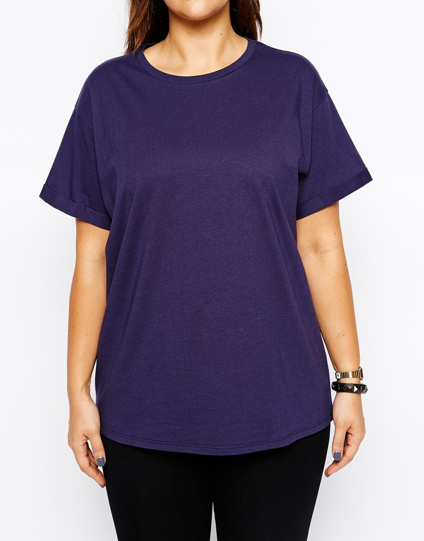 Asos the easy t shirt 2 pack in plain and stripe in purple for Plain t shirt pack
