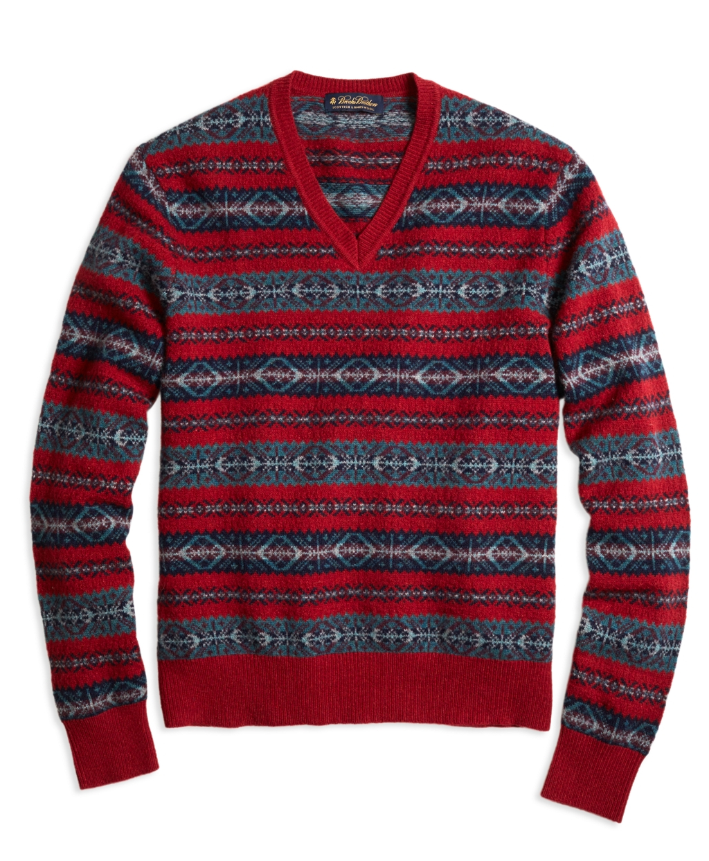 Brooks brothers Fair Isle V-neck Sweater in Red for Men | Lyst