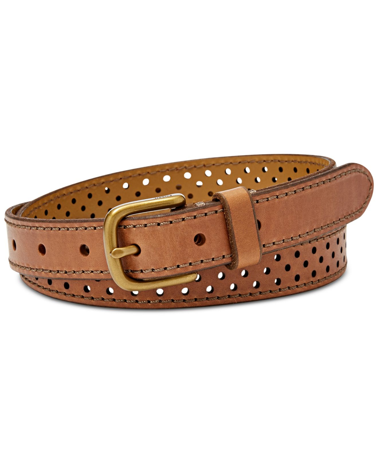 fossil brass buckle perforated dot leather belt in brown