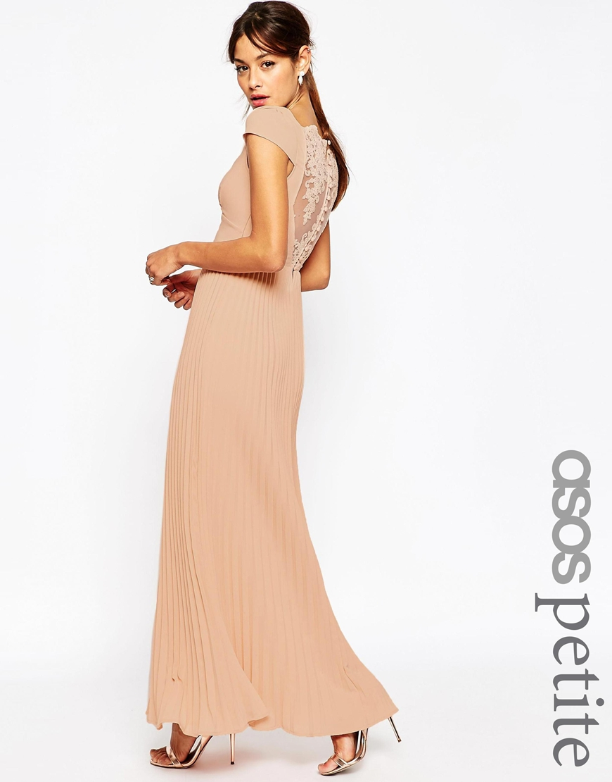 Asos wedding lace back pleated maxi dress in natural lyst for Lace maxi wedding dress