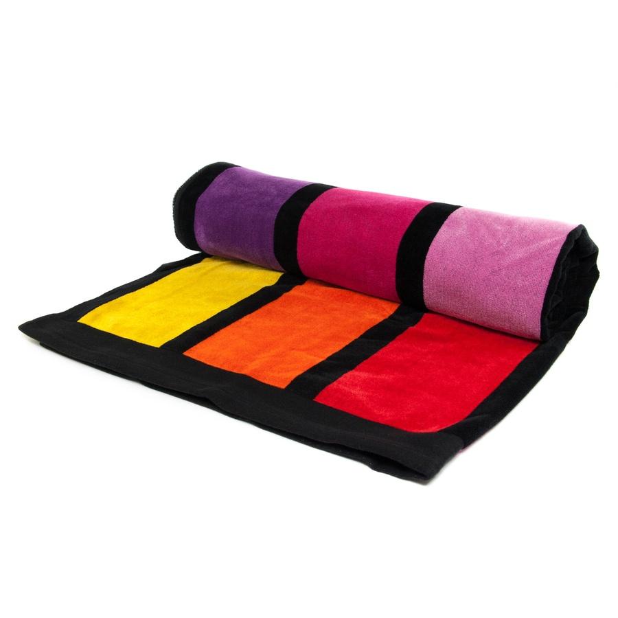 Beach Towel: Black.co.uk Rainbow Bright Striped Egyptian Cotton Beach