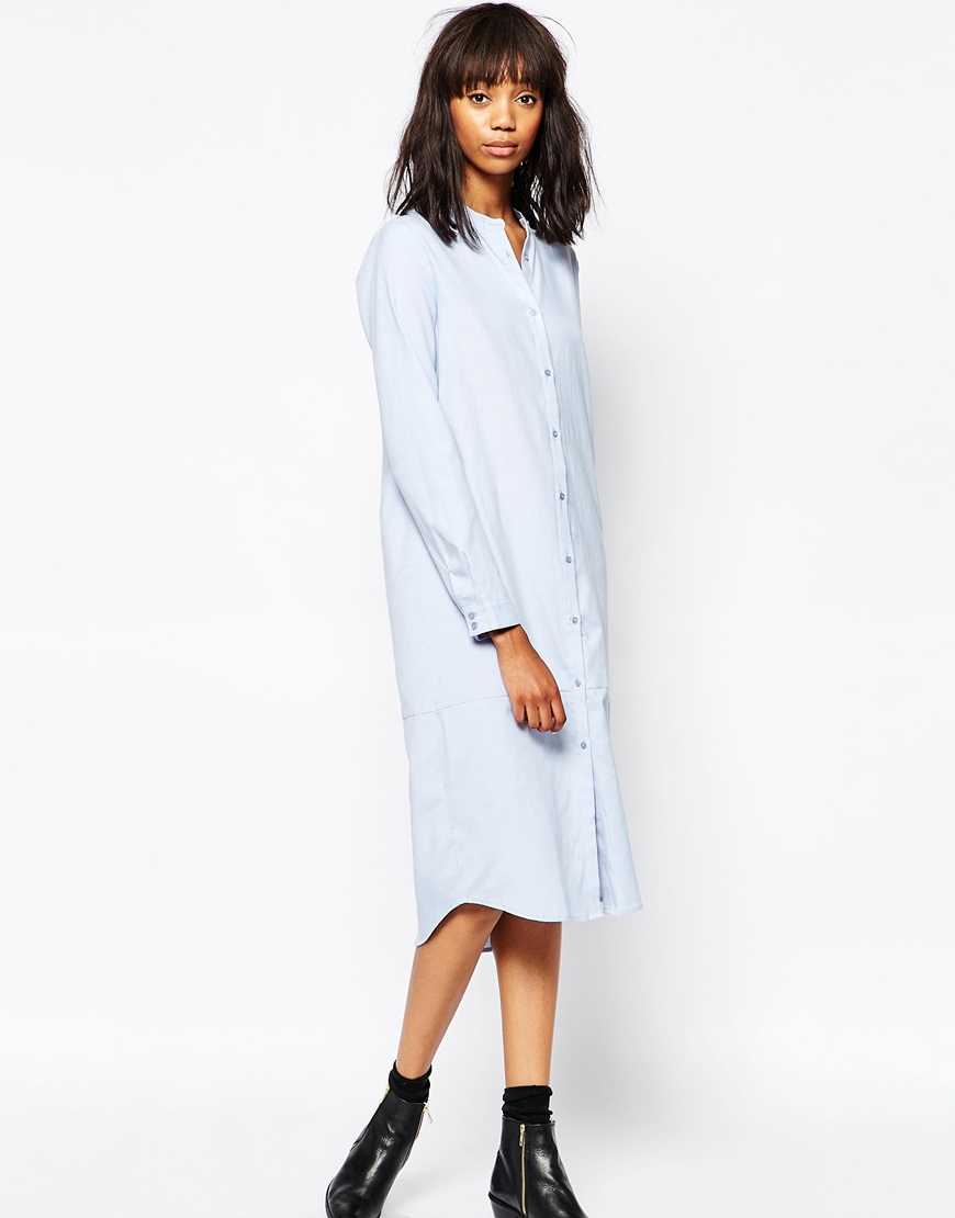 minimum long sleeve midi shirt dress in blue lyst