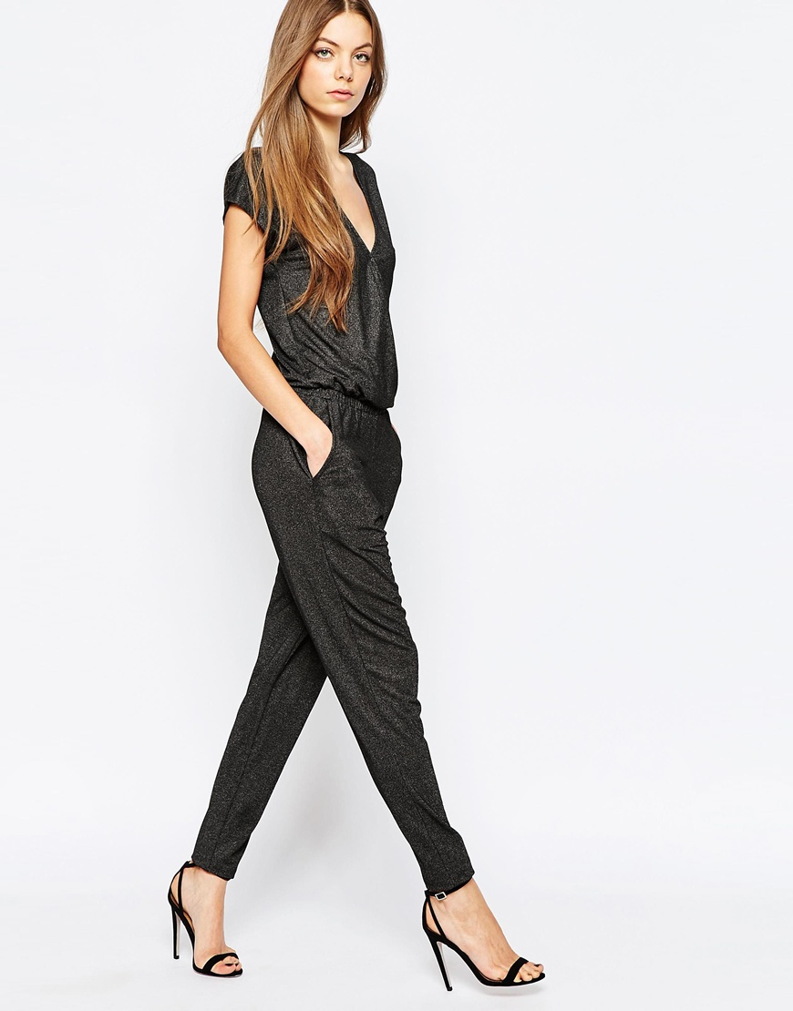 283de74a48 Lyst - SELECTED Ganna Wrap Front Jumpsuit In Soft Glitter in Black