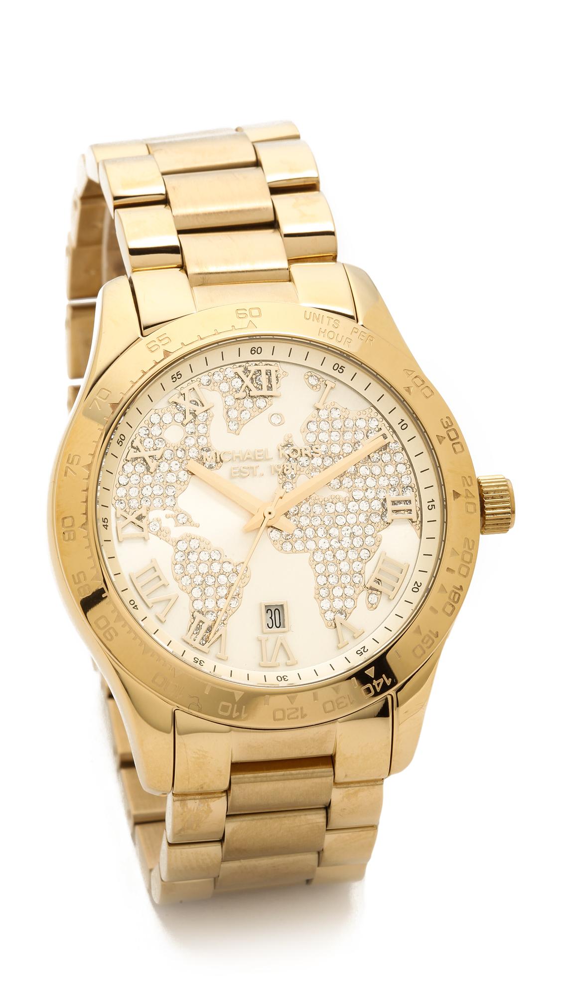 World Map Watch Michael Kors.Lyst Michael Kors Global Glam Layton Watch Gold In Metallic