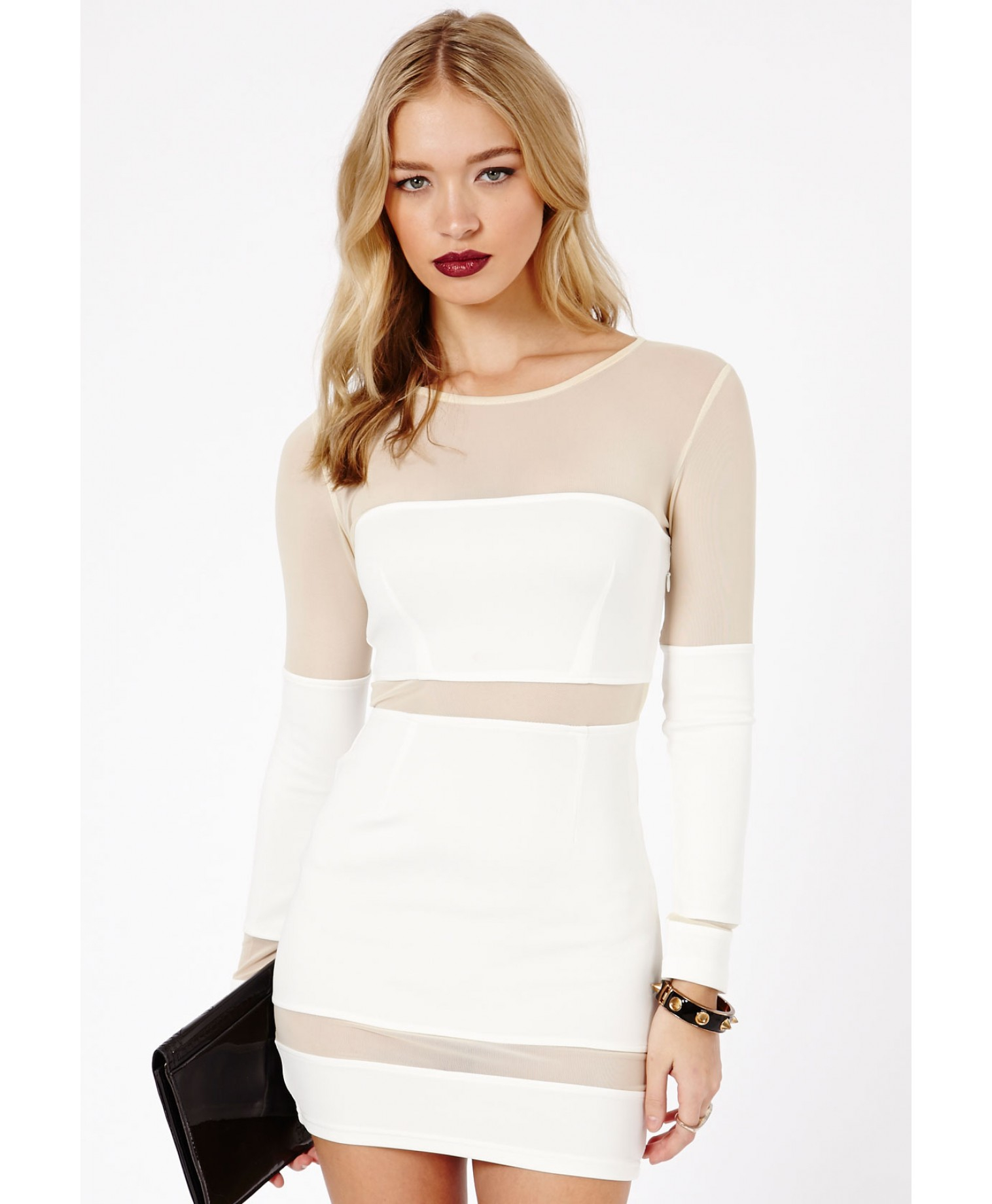 Missguided Hania Long Sleeve Mesh Bodycon Dress in White in White ...
