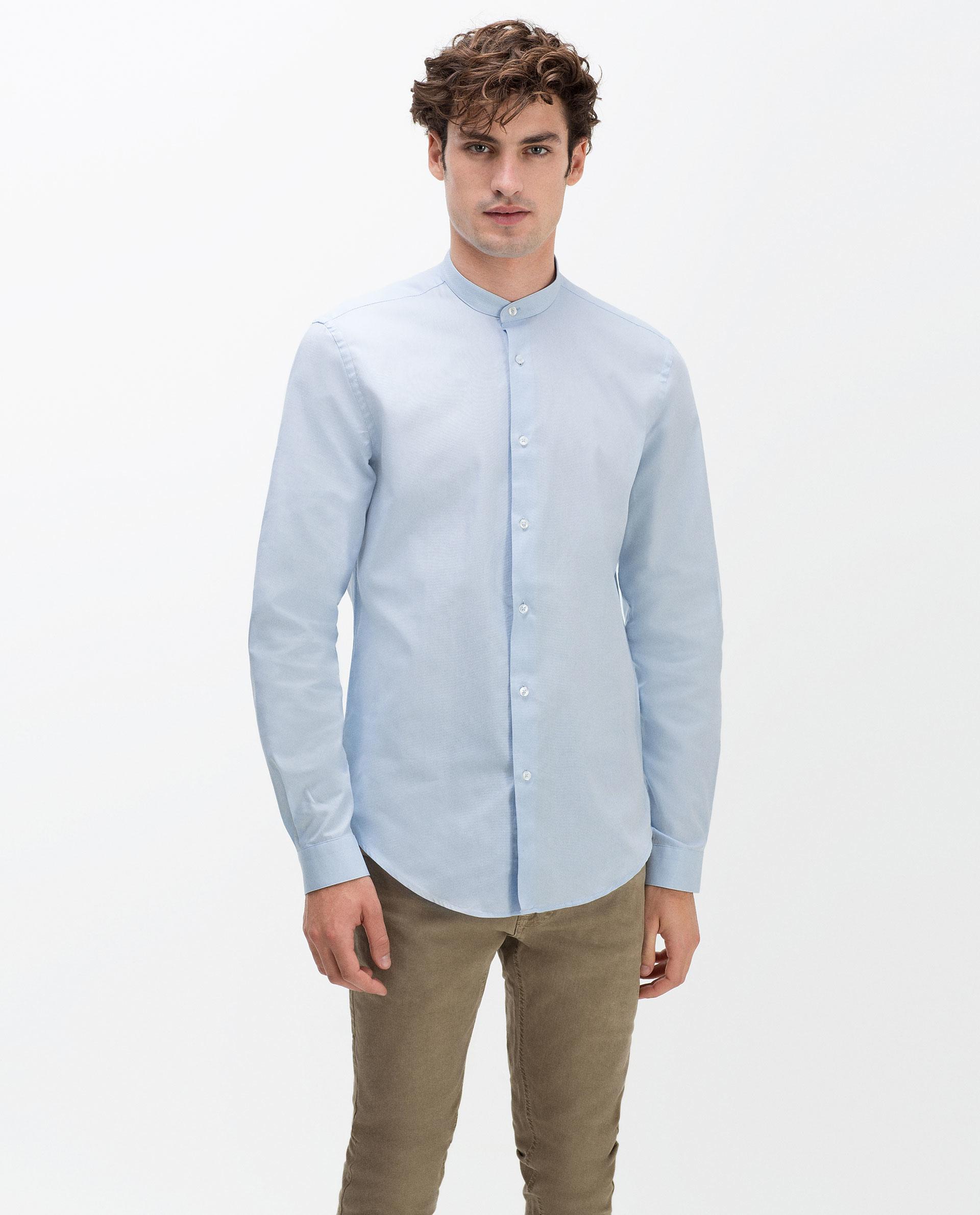 Zara Slim Fit Oxford Shirt In Blue For Men Lyst