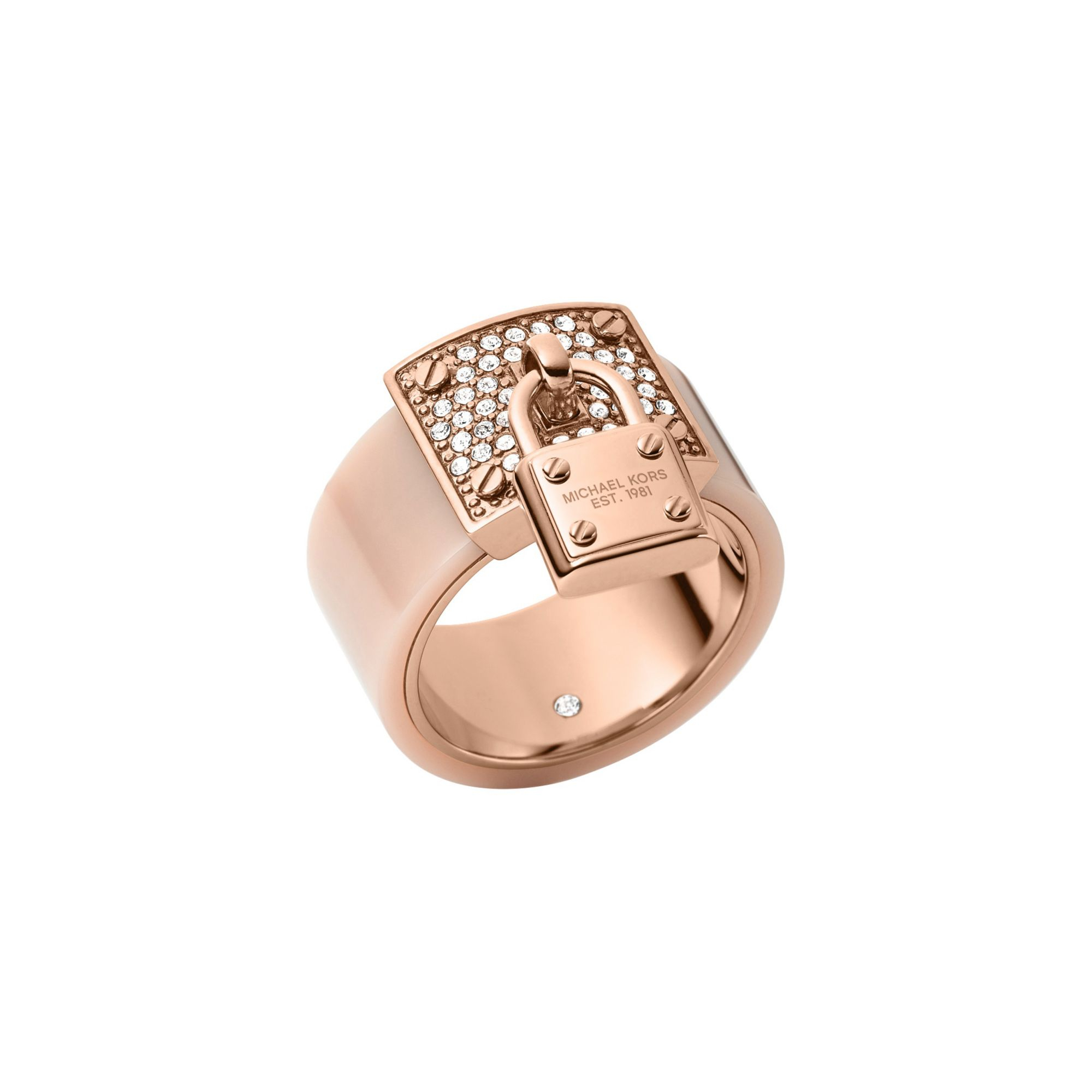 ca2889d00af9f0 Michael Kors Pavé Rose Gold-tone And Blush Acetate Ring in Pink - Lyst
