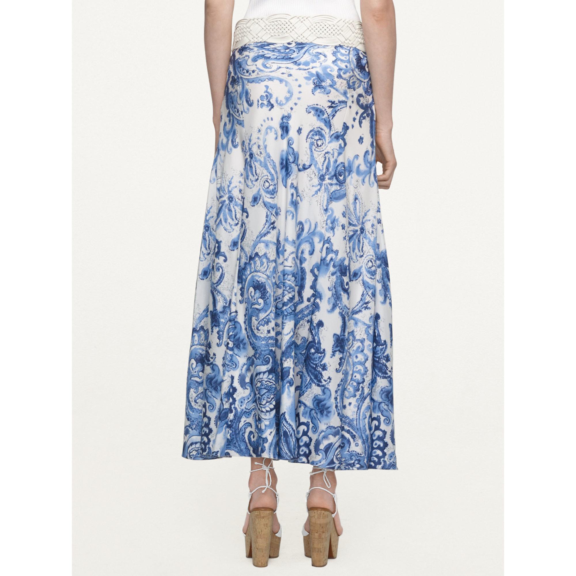 ralph black label paisley silk bria skirt in blue