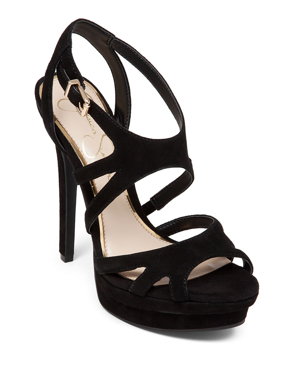 Jessica simpson Presslie Suede High-heel Sandals in Black | Lyst