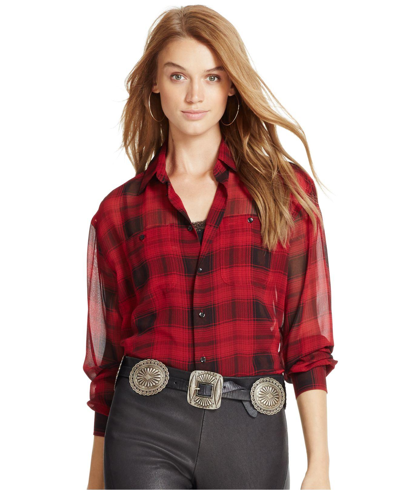 1728dfbb4 ... coupon code for lyst polo ralph lauren silk plaid shirt in black c10b7  c10dd